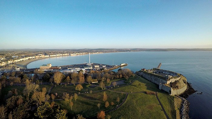 Nothe Fort and Sea Life Tower from Air